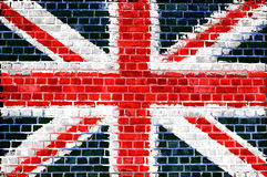 Brick Wall Britain. An image of the union jag flag painted on a brick wall in an urban location Royalty Free Stock Photo