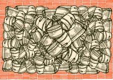 Brick wall  and buckets. Brick wall illustration and buckets Stock Photos