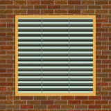 Brick wall with A/C vent. Computer generated illustration of brick wall with ventilation opening Stock Image