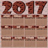 2017 Brick Wall Calendar. 2017 in Brick Wall style Calendar Stock Photo