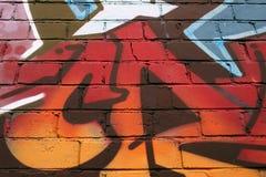 Brick Wall City Graffiti. Abstract Detail of Graffiti on a Brick Wall Stock Images