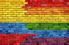 Brick Wall Colombia and Gay flags Stock Images