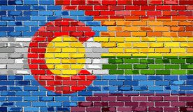 Brick Wall Colorado and Gay flags. Illustration Royalty Free Stock Photo