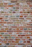 Brick wall, with colorful colored bricks, red, green, gray, brown in summer in Bruges, Belgium, red wall texture, as background. royalty free stock image
