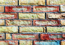 Brick wall, colorful, detail, background Stock Images