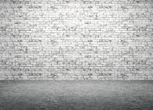 Brick wall and concrete floor interior background 3d render Royalty Free Stock Photos