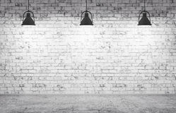 Brick wall, concrete floor and lamps  background 3d render Royalty Free Stock Photos
