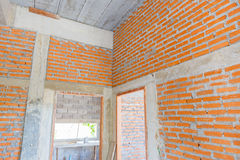 Brick wall construction for house building Royalty Free Stock Image