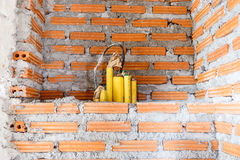 Brick wall construction for house building Stock Photo