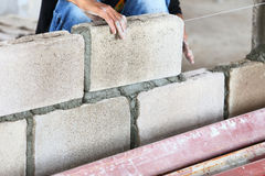 Brick wall construction for house building Stock Image