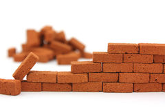 Brick wall construction isolated Stock Photography