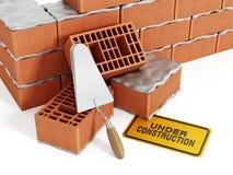 Brick wall construction royalty free stock photos