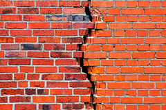 Brick wall with a crack. A brick wall with a crack Royalty Free Stock Image