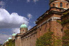 Brick wall and cupolas on Mirogoj. Ivy bricked wall, cupolas and turrets on Mirogoj Stock Image