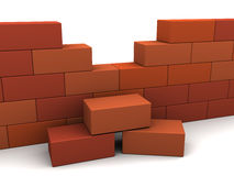 Brick wall. 3d illustration of brick wall over white background Stock Photo