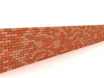 Brick Wall. 3D image of brick wall on white background Royalty Free Stock Images