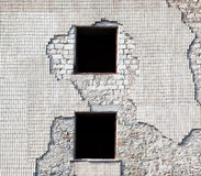 Brick wall of destroyed house Royalty Free Stock Image