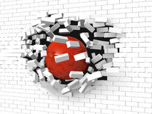Brick wall destroyed by a red ball Stock Image