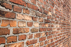 Brick wall in a diagonal term. stock photo