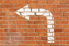 Brick wall with direction sign Stock Image