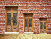 Brick Wall And Doors Royalty Free Stock Photo