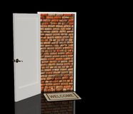Brick wall in a doorway Stock Image