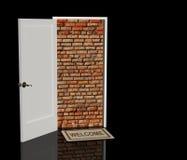 Brick wall in a doorway Stock Image