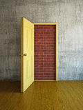 Brick wall in a doorway Stock Photos