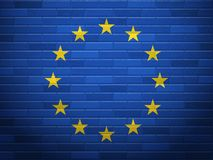 Brick wall EU flag Stock Images