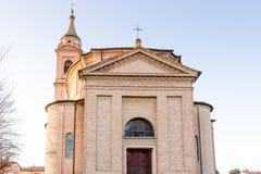 Brick wall of facade of XVIII Century parish church Royalty Free Stock Image