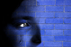Brick Wall and Face Stock Image