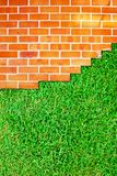 Brick wall fence and grass field Stock Photos