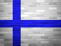 Brick wall Finland flag. Finland flag on textured brick wall Royalty Free Stock Photos