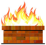 Brick wall on fire Stock Images