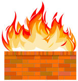Brick wall on fire. Vector illustration of brick wall on fire Royalty Free Stock Images