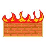 Brick wall on fire icon, cartoon style. Brick wall on fire icon in cartoon style isolated on white background vector illustration Stock Photo