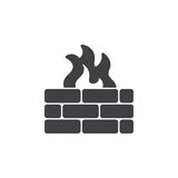 Brick wall and fire icon vector. Filled flat sign, solid pictogram isolated on white. Firewall symbol, logo illustration Royalty Free Stock Photo