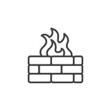 Brick wall and fire line icon. Outline vector sign, linear pictogram isolated on white. Firewall symbol, logo illustration Royalty Free Stock Images