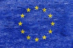 Brick wall. Flag of European Union over brick wall Stock Image
