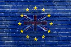 A brick wall with a flag of the Great Britain inside the flag of the European Union. Horizontal frame Royalty Free Stock Photography