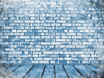 Brick wall and floor in snow Royalty Free Stock Photography