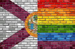 Brick Wall Florida and Gay flags - Illustration Stock Images