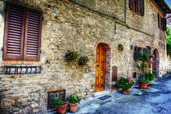 Brick wall and flowers in San Gimignano Royalty Free Stock Image