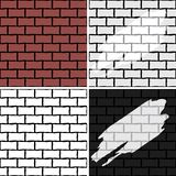 Brick wall. Four seamless patterns for design stock photos