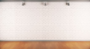Brick wall front. Front view of interior with empty brick wall, wooden floor and ceiling lamps. Mock up, 3D Rendering Stock Photos