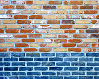 Brick Wall. Frontview of a brick wall in vivid colors Stock Photos