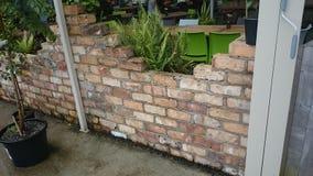 Brick wall. Garden royalty free stock photography