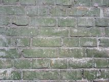 Brick wall is gentle green color with whitish plaster between rows of bricks. Brick wall is a gentle green color with whitish plaster between rows of bricks Royalty Free Stock Photo