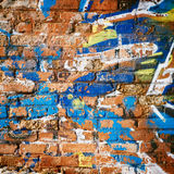 Brick Wall in Ghetto. Messy Background stock images