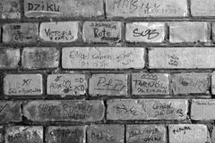 Brick Wall with Graffiti. In Black and White Royalty Free Stock Photo